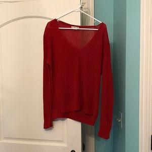 Zara Sweaters - Zara Red Italian Yarn Knit Pullover V Neck Sweater